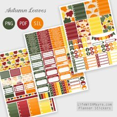 Free Printable Autumn Leaves Planner Stickers {PDF, PNG and Silhouette files} fr. To Do Planner, Free Planner, Blog Planner, Happy Planner, Study Planner, Printable Planner Stickers, Free Printables, Bullet Journal, Erin Condren