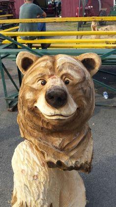 Bear Bust chainsaw carved by www.joshlandry.com
