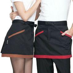 Apron Designs, Shirt Designs, Chef Dress, Salon Uniform, Restaurant Aprons, Polo Shirt Design, Waist Apron, Vest Pattern, Work Fashion