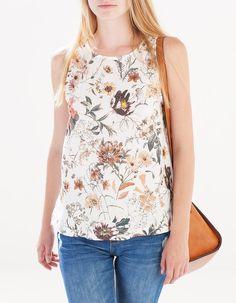 T-shirt bimatéria flores - T-SHIRTS - MULHER   Stradivarius Portugal