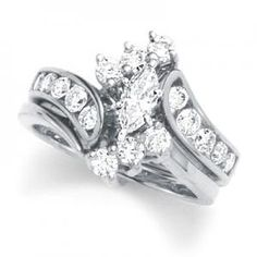 Gorgeous Marquise Bridal Set Wedding Platinum Rings Diamond