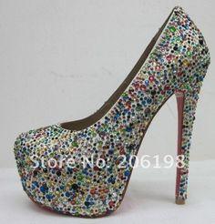 Drop shipping 14cm 16cm crystal jewel hight heel women shoes, Daffodil heel pumps size 34-42 on AliExpress.com. $99.00