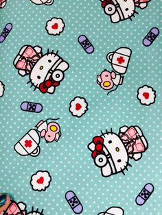 Sanrio Nurse Hello Kitty Scrubs Cotton Fabric Hello Kitty