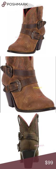 "Dingo Cowboy Ankle Boots Dingo Cowboy Ankle Boots New 3"" Heel Leather New Dingo Shoes Ankle Boots & Booties"