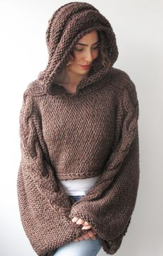 Plus Size - Over Size Dark Brown Cable Knit Hoodie Capalet by Afra. $85.00, via Etsy.