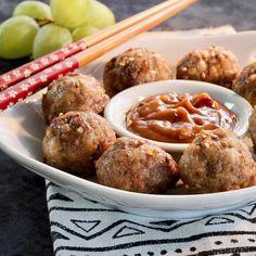 Beef And Pork Meatballs, How To Cook Meatballs, Meatball Recipes, Beef Recipes, Cooking Recipes, Yummy Recipes, Crockpot, Peanut Dipping Sauces, Crock Pot