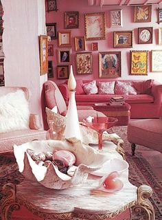 pink and gold living room