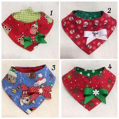Christmas Dog Bandana Bib Style Reversible by LittlePawsBoutique
