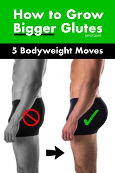 How to Grow Bigger Glutes Bodyweight Movers) - Turn your flat booty into a bubble butt! Use these 5 bodyweight moves to target your glutes and gro - Glutes Workout Men, 30 Day Ab Workout, Bubble Butt Workout, Body Weight Leg Workout, Leg And Glute Workout, Workout Routine For Men, Gym Workout Videos, Weight Training Workouts, Gym Workout For Beginners