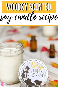 This woodsy scented soy candle is so simple and easy to make. You're only going to need a few ingredients and some essential oils to get started. It's simple to create and burns clean. Say goodbye to all those chemicals in your house and instead, make your very own homemade candle. You just might find out that you don't ever want to go back to a storebought candle ever again. Great for home use or to even give as a gift. #homemadecandle #soycandle #fallscents #candlemaking #homemadegift Candle Making Jars, Mason Jar Candles, Diy Candles, Scented Candles, Where To Buy Candles, Essential Oil Candles, Essential Oils, Homemade Soy Candles, Candlemaking