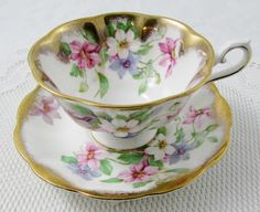 Royal Albert Tea Cup and Saucer, Flowers with Heavy Gold Gilt, Vintage Bone China, Antique Tea Cup