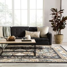 Last day to save! Shop our Memorial Day sale and save up to 60% off! Head over to our site to find the perfect rug for your space! Masculine Living Rooms, Dark Living Rooms, Rugs In Living Room, Black Sofa Living Room Decor, Black And White Living Room Ideas, Charcoal Sofa Living Room, Charcoal Couch, Apartment Living Rooms, Modern Small Living Room