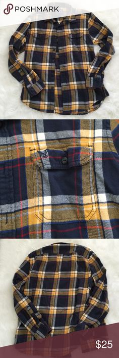 American Eagle Flannel Super soft navy blue and yellow plaid long sleeve flannel. Pockets in the front and eagle logo on one pocket. Athletic fit. Made with 100% soft cotton. No flaws! American Eagle Outfitters Shirts
