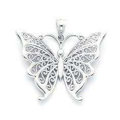 Sterling Silver Butterfly Pendant with Filigree by GianniDeloro, $45.72