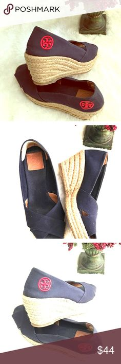 Tory Burch Blue Espadrilles Wedges Size 8B These beauties remain in excellent condition after times of use. Enhanced to protect your back heels. Please see pictures for more deals. Tory Burch Shoes Wedges