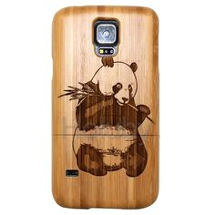 Luxury 2 in 1 Detachable Wooden Hard Case for Samsung Galaxy S5 I9600 G900 (Carved Panda)