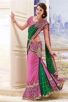 Net, Georgette Purple, Green Designer Party Wear Lehenga Style Saree