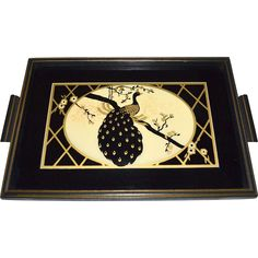 1930s Art Deco Reverse Painted Glass Peacock Wood Handle Serving Tray