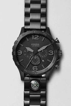 #Fossil Nate Chronograph Black Leather Watch #colorcurious