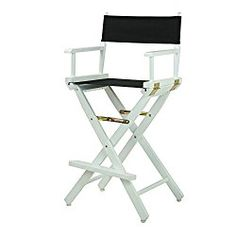 Casual Home 30″ Director's Chair White Frame-with Black Canvas, Bar Height