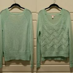 Victoria Secret Mint Sweater Victoria Secret mint color sweater with cute design. So cute with leggings or skinny jeans. I'm a XS-S and it fits perfect for with skinniest :) Victoria's Secret Sweaters Crew & Scoop Necks