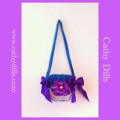 """Purple flower turquoise handbag for girls"" by Cathy Dills.  www.cathydills.com"