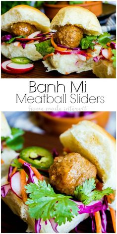 These Banh Mi Meatball Sliders are an easy slider recipe that makes a quick and easy weeknight dinner or the perfect summer BBQ recipe! Best Appetizers, Appetizer Recipes, Dinner Recipes, Dinner Ideas, Summer Bbq, Summer Picnic, Summer Food, Meatball Sliders, Slider Recipes