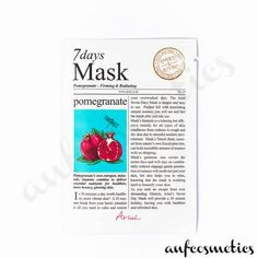 Ariul 7 days mask pomegranate Glowing Skin, Pomegranate, Moisturizer, Skin Care, Personal Care, Cosmetics, Day, Collection, Moisturiser