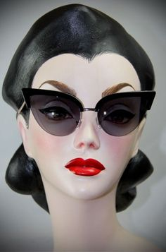 00113f2ca9fa 50s Style Thunderbird Black Cat Eye Sunglasses at Deadly is the Female Cool  Glasses