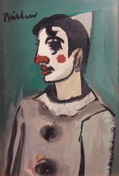 S2873 Buchner Clown Mixed Media 40cmx30cm Old Master, Masters, African, Paintings, Gallery, Artist, Paint, Painting Art, Painting