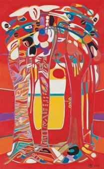 Françoise Gilot (b. 1921)   Living Forest   signed and dated 'F. Gilot Nov. 1977.' (lower right); titled 'Living Forest' (on the stretcher)  oil on canvas   51¼ x 31 7/8 in. (130 x 81 cm.)   Painted in 1977