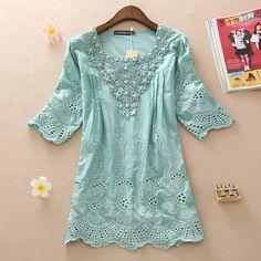#aliexpress, #fashion, #outfit, #apparel, #shoes 2014, #summer, #loose, #cutout, #lace, #beading, #medium-long, #half, #sleeve, #shirt, #top, #plus, #size, #clothing, #cute, #shirt http://s.click.aliexpress.com/e/762JYjMfy
