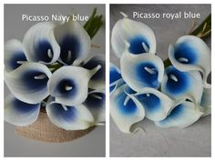 Picasso Royal/Navy Blue Calla Lilies Real Touch by DexinFloral