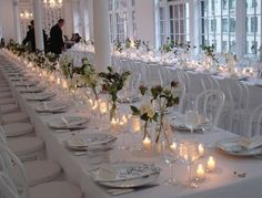 Inspiration på dukning! All White Wedding, Our Wedding, Dream Wedding, Wedding Table, Wedding Blog, Wedding Ideas, Bottle Centerpieces, Wedding Decorations, Table Decorations