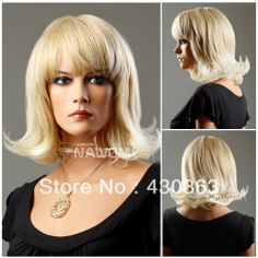 Western fashion pear flower style women wig free shipping charming graceful blonde curly wig hot sale medium long synthetic wig