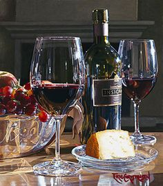 Eric Christensen - Watercolor Paintings - Judith Hale Gallery.  I don't really like still life paintings, but the way the glass seems to sparkle is amazing to me!