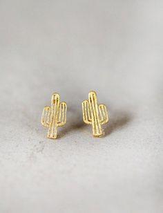 Tiny Gold Cactus Stud Earrings #StudEarrings