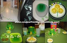 St. Patrick's Day Traditions: A leprechaun left green footprints all over the kitchen, turned the toilet water green, and turned the milk green!