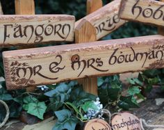 Lord of the Rings Wedding Decor Package Table Name Sweetheart Table Place Name Favours Favors Here Comes the Bride Customise Rustic Wood