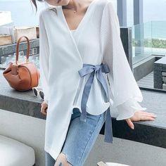 Mini Shirt Dress, Chiffon Shirt, Chiffon Blouses, Model Dress Kebaya, Tips, Tunic Tops, Dresses With Sleeves, Long Sleeve, Dress Patterns