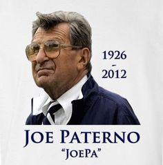 Joe Paterno JoePa Memorial Tribute T Shirt RIP Penn State Football
