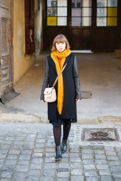 leather sleeves, mustard scarf