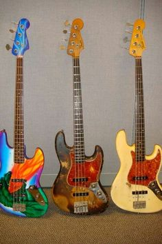 """The middle bass one is Bobby Vega's """"shark bass"""". The right one looks like his """"1960 stack pot"""". Given Bobby's whacky nature I guess it's safe to assume the left one belongs to him too..."""