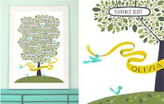 Olive tree family tree: simplify this as a quilt by using a green patterned fabric for the leaves, and appliqueing names on, again, handwritten by the family member (or embroidered)