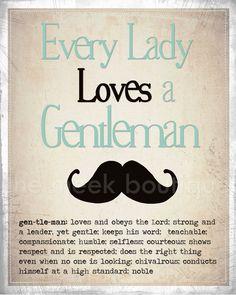 Every Lady Loves a Gentleman, Digital Art Printable, via Etsy.