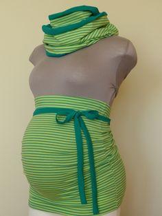 Bauchbänder - Bauchband Loop Set - Limone/smaragd geringelt - ein Designerstück von Libell-K bei DaWanda