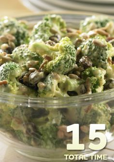 Curried Broccoli Salad... This cold summer salad is super refreshing and just as easy to make. Only 15 minutes required to prepare this tasty side dish with broccoli, raisins and sunflower seeds.