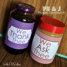 Teach kids how to pray by making a PB Prayer Sandwich. Great for primary or Family Home Evening.