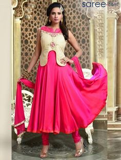 CREAM AND PINK ART SILK SUIT WITH EMBROIDERY WORK