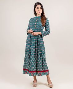 a2c80cff7193 Hand Block Printed Long Teal Dress with Open Pintuck